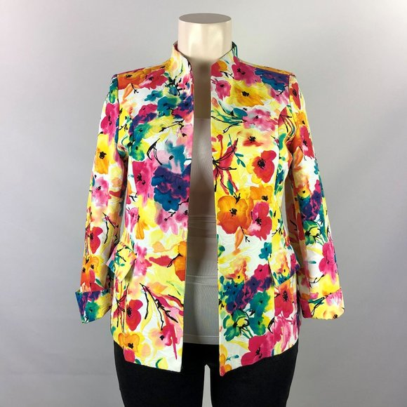 Investments Yellow & Pink Floral Blazer Size XL
